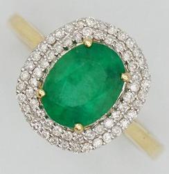 14kt Gold Zambian Emerald & Diamond Ring