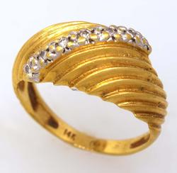 Gold Dome Ring with Diamonds, Size 4.5