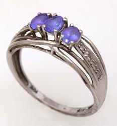 Purple Gem & Diamond Accent Ring, Size 6.75