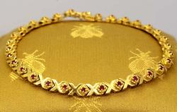 Gold X-Link Bracelet with Rubies, 7in
