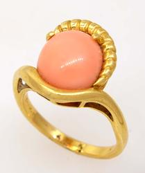 Pink Stone Ring in Gold, Size 6.5