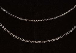 Two White Gold Link Chains, 16in & 15in