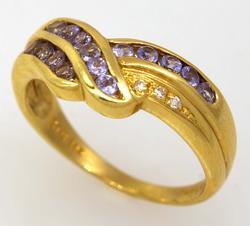 Purple Gem & Diamond Band, Size 8