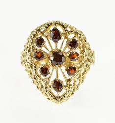 14K Yellow Gold Ornate Filigree Scroll Point Teardrop Cluster Ring