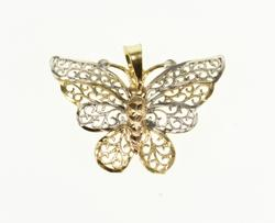 10K Yellow Gold Scroll Filigree Tri Tone Butterfly Pendant
