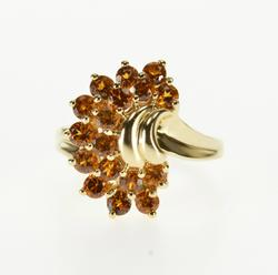 10K Yellow Gold Citrine Encrusted Fan Cluster Statement Ring