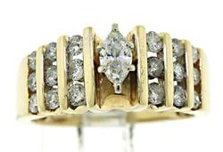 Marquise and Channel Set Diamond Ring