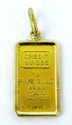 .999.9 Fine Gold Credit Suisse Ingot Pendant