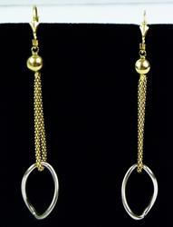 Italian Two-Tone 14K Long Dangly Earrings