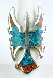 Large Turquoise & Coral Eagle Ring, Size 7.25
