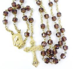 Vintage Gilded Purple Glass Italian Rosary