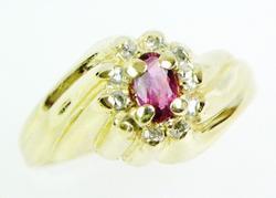 Prettiest 14K Topaz & Diamonds Bypass Ring, Size 6