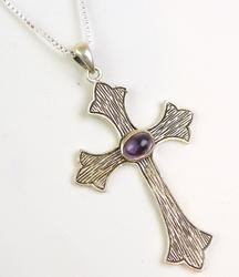 Large Sterling Cross with Amethyst Cabochon & Chain