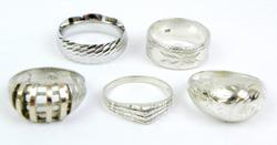 Great Collection of 5 Sterling Silver Rings, Size 7