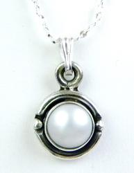 Pretty Silvery Pearl Sterling Necklace