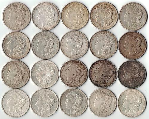 Roll of 20 - 1921 Morgan Silver Dollars - 90% Silver