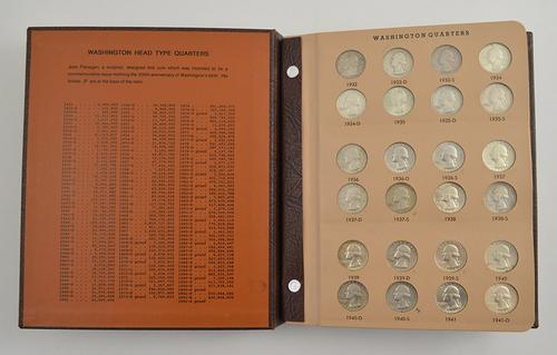 172 Coins - 1932-1998 Washington Quarters Album
