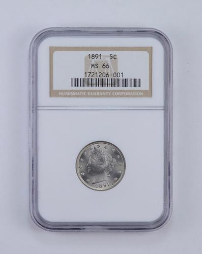 MS66 1891 Liberty V Nickel - Graded NGC