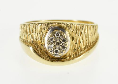 14K Yellow Gold Textured Diamond Inset Oval Cluster Wave Band Ring