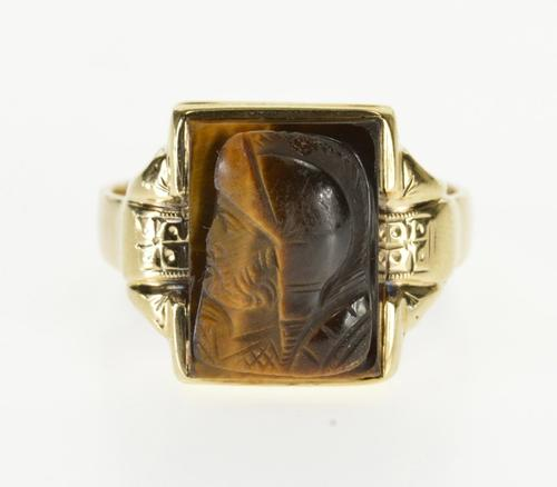 8K Yellow Gold Carved Tiger's Eye Intaglio Soldier Ornate Ring