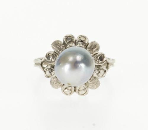 14K White Gold Ornate Textured Accent Floral Pearl Inset Ring