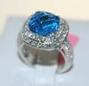 Checkered Blue Topaz & Diamond Ring, 14K
