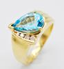 Gorgeous 14kt Gold Blue Topaz & Diamond Ring