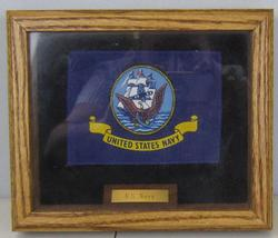 US Navy Military Flag With wooden Frame