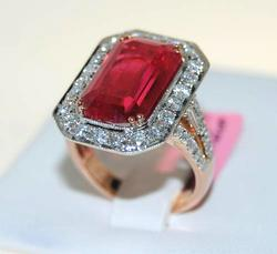 Rhodonite & Diamond Cocktail Ring in 14kt Rose Gold