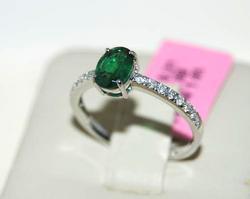 Beautiful 14kt Emerald & Diamond Cocktail Ring