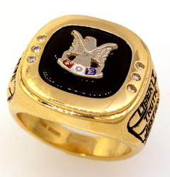 Gold Elks Ring with Diamonds, Size 6.25