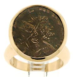 Rose Gold Bronze Ancient Coin Ring