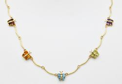 Fancy Multi Gemstone & Solid Yellow Gold Butterfly Necklace