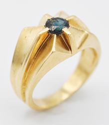 Men's Solid Gold & Blue Sapphire Ring- Size 6.5