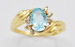 14kt Gold Sky Blue Topaz & Diamond Ring