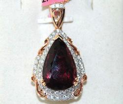 14kt Rose Gold Tourmaline & Diamond Pendant