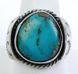 Early N.A. Indian Sterling Turquoise Ring, Size 10.5