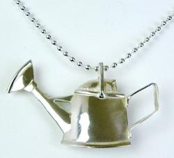 Signed Sterling Watering Can Pin/Pendant w/Chain