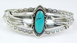 Signed N.A. Indian Sterling Turquoise Cuff
