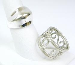 2 Sterling Silver Rings, Size 8