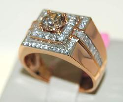 Men's Diamond Ring in 14K Rose Gold