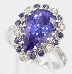 Blue Sapphire, Tanzanite, and Diamond Ring, 14kt Gold