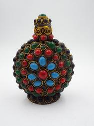 Colorful Antique Tibetan Snuff Bottle - Medicinal Herb