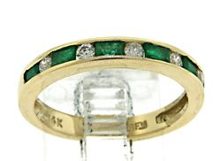 Gorgeous Emerald and Diamond Band Ring