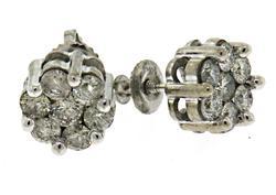 White Gold Diamond Cluster Earrings