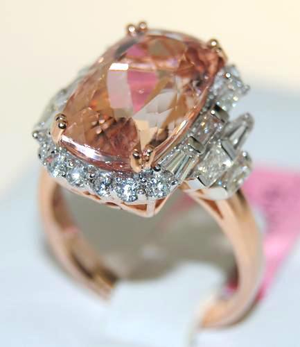 Huge Morganite & Diamond Ring, 14k Rose Gold