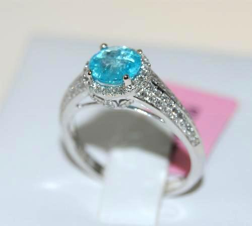 Apatite & Diamond Cocktail Ring in 14kt White Gold