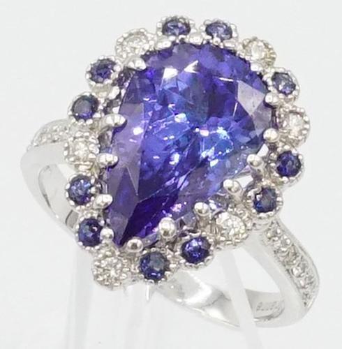 Blue Sapphire, Tanzanite, and Diamond Ring, 14kt Gold