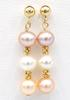 14kt Yellow Gold Pearl Dangle Earrings
