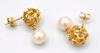 14kt Yellow Gold Nugget Pearl Earrings